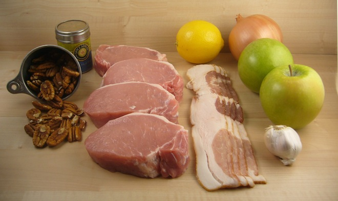 Recipe with pork chops and bacon