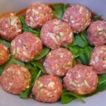 PaleoPot - Pine Nut Meatballs with assorted veggies and spinach - Crock Pot / Slow Cooker Recipe