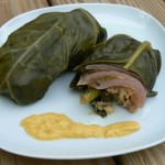 Hot Chinese Mustard Chicken Thighs, Wrapped in Collard Greens.