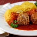 Stupid Easy Paleo Spaghetti Squash & Meatballs