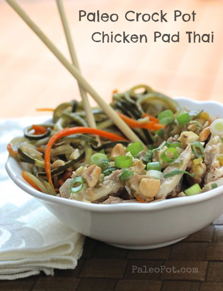 Paleo Slow Cooker Chicken Pad Thai with Veggie Noodles - PaleoPot - Easy Paleo Recipes - Crock Pot / Slow Cooker / One-Pot