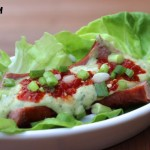 Super Hot Dog Works with Avocado Lime Dressing & Lettuce Wrap